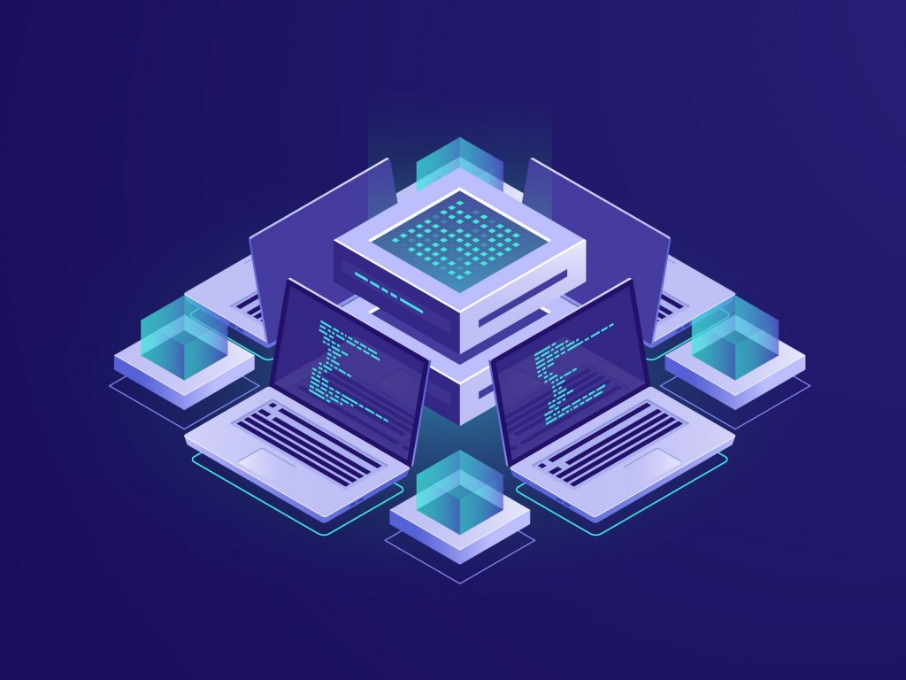 Artificial intelligence isometric icon, server room, datacenter and database concept, code repository access, programm app development vector neon dark